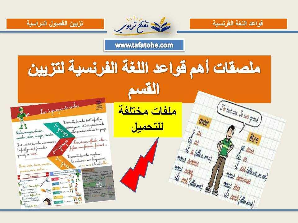 ملصقات أهم قواعد اللغة الفرنسية لتزيين القسم
