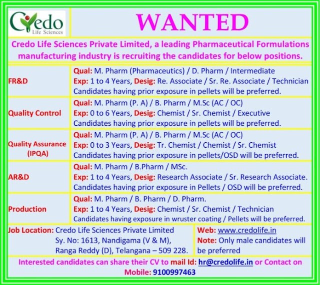 Credo Life Sciences | Urgent openings in Multiple Departments at Hyderabad | Send CV