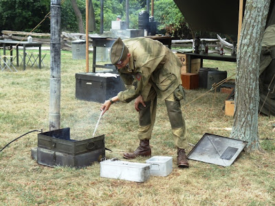WWII U.S. Army field kitchen in use - living history