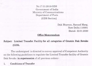 GDS – Limited Transfer Facility for all categories of Gramin Dak Sevaks (DoP)
