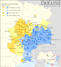 Map of rebel control in Ukraine, showing the areas claimed by the breakaway Donetsk and Lugansk People's Republics.