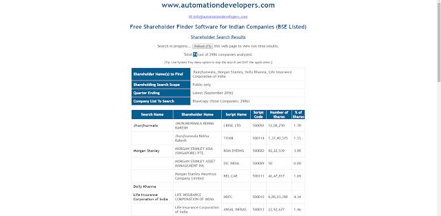 ShareHolder Finder Output Report Format