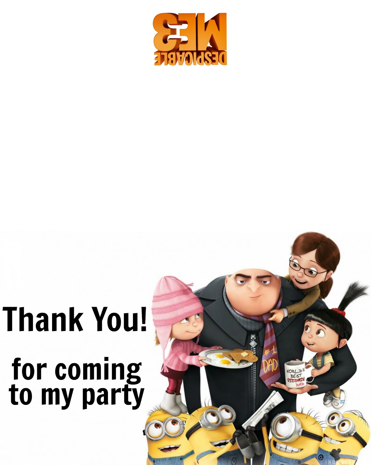 Musings Of An Average Mom Despicable Me 3 Thank You Cards