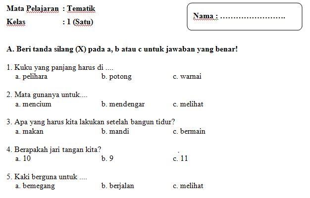 Unduh Contoh Soal UH Bahasa Inggris SD Kelas 2 Semester 1
