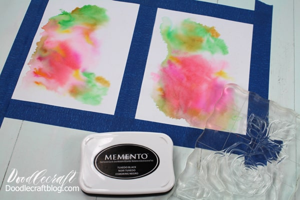 Watercolor wash cards are easy to make with a flower rubber stamp