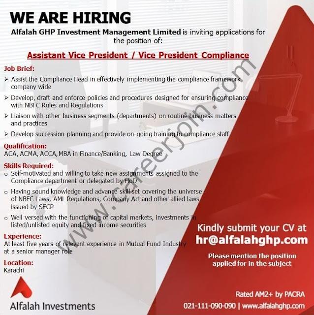 Alfalah GHP Investment Management Ltd Jobs Assistant Vice President / Vice President Compliance