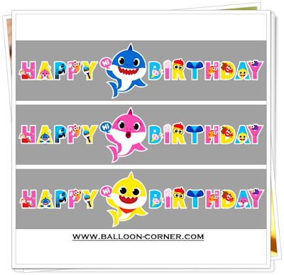 Bunting Banner HAPPY BIRTHDAY Baby Shark