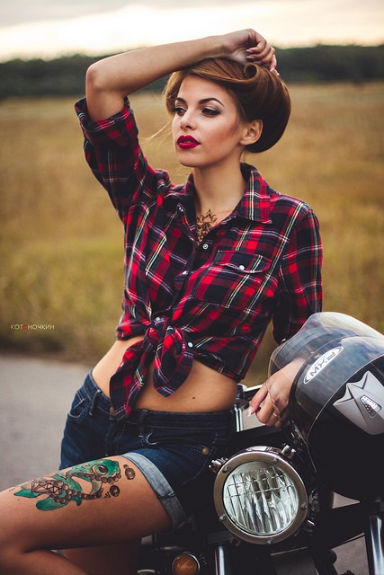 [Photograph] Russian's Custom Motorcycle & Russian Girl