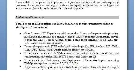 websphere administrator sample resume format in word free download