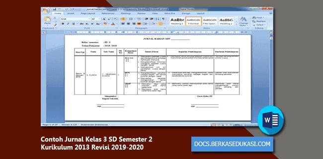 Contoh Jurnal Kelas 3 SD Semester 2 Kurikulum 2013 Revisi 2019-2020