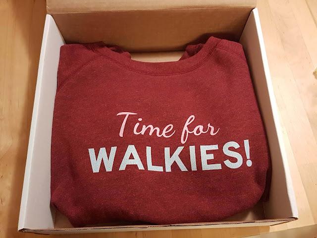 Burgundy sweatshirt that says Time for walkies! Companion Animal Psychology merch