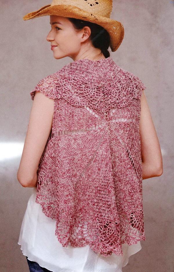 Crochet Circle Vest, Easy - Back
