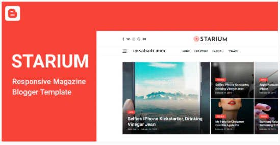 Starium Template Blogger Responsive Magazine