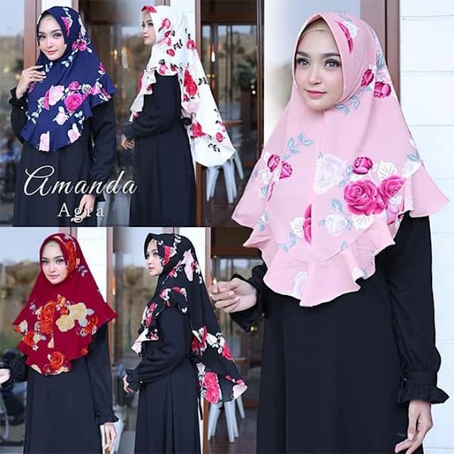 Jilbab Instan Panjang AMANDA Agra Motif Bunga CANTIK