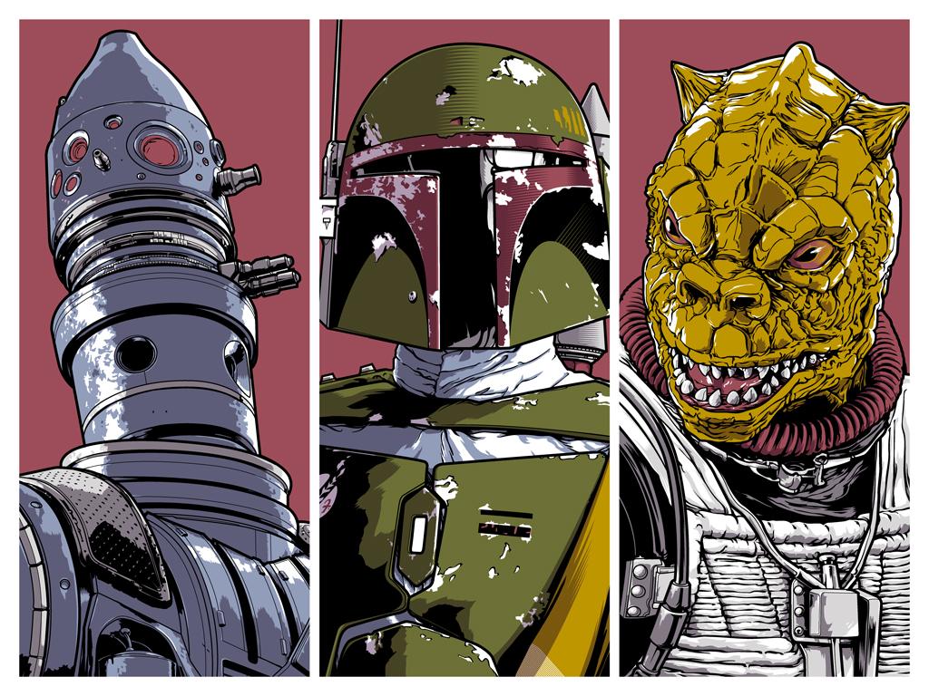 "34cc2e9ee4fe2 The Blot Says...  Star Wars ""Bounty Hunters"" Screen Print by Joshua ..."