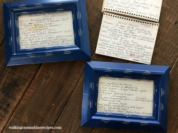 Recipe Cards in Blue Frames from Walking on Sunshine