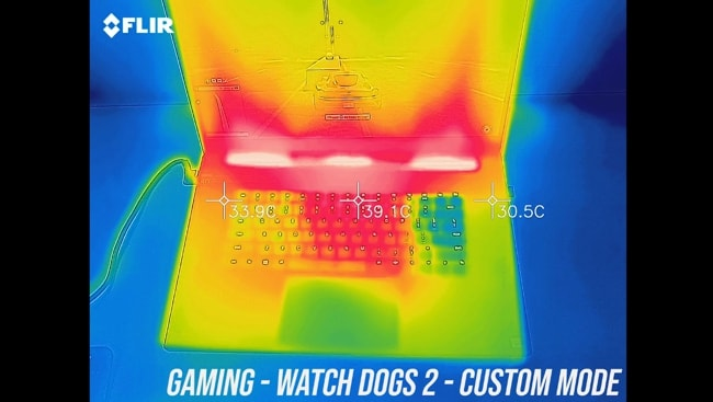 Tested the temperature of keyboard and palm rest during gaming in custom mode on Razer Blade pro 17.