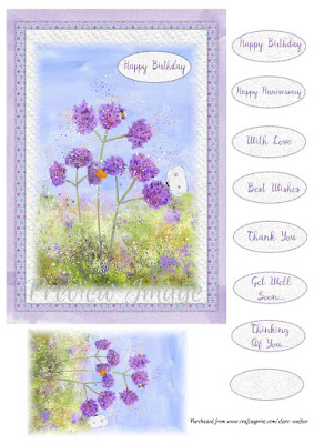 watercolour of purple floral verbenas, made into a card sheet with tags.