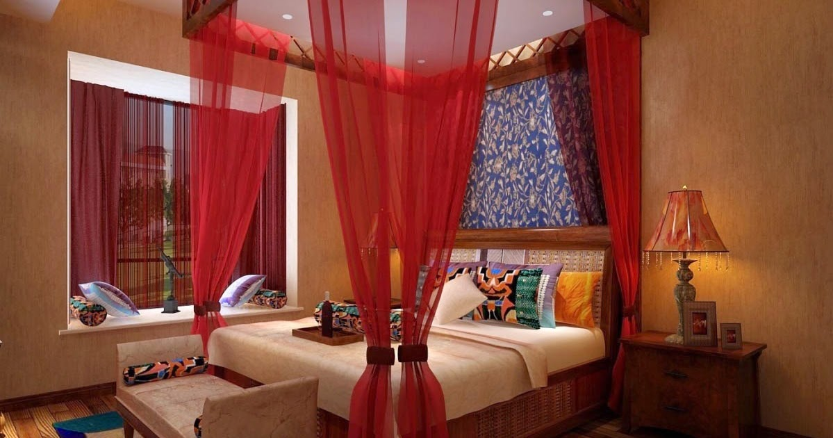 Canopy Bedroom Curtains: Romantic Red Four Poster Canopy Bed