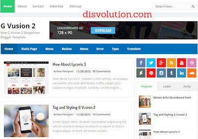 Template Terbaru 2017 G Vusion 2 Blogger Seo Responsive Download Gratis