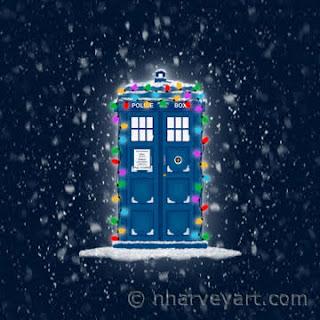Police Box with Christmas Lights & Snow