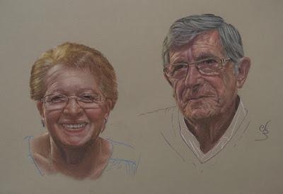 Retrato a pastel de un pareja