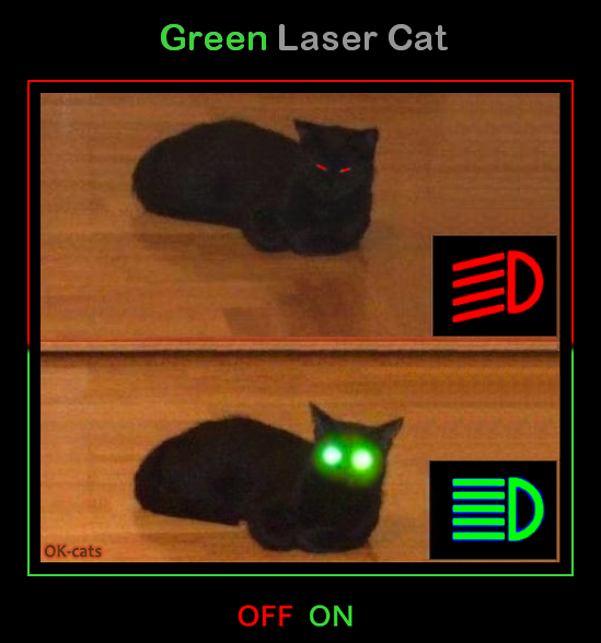 Photoshopped cat picture • Funny black cat with green laser eyes. Mode Off and Mod On. Don't mess with me, I can see  you even in the darkness...