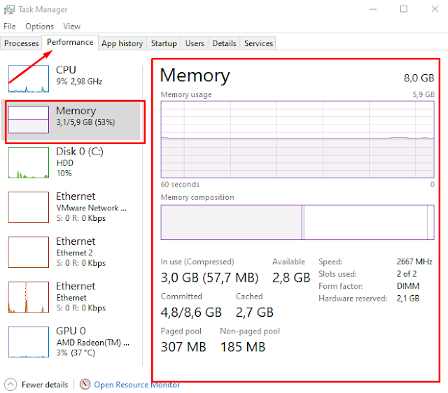 cara cek kepasitas RAM