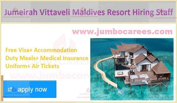 Available resort jobs in Maldives, Free visa jobs in Maldives,