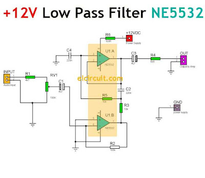 12V DC Low Pass Filter Circuit Diagram