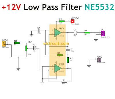 12V DC Low Pass Filter Circuit Diagram