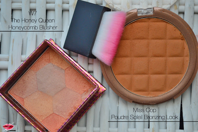 The Honey Queen Honeycomb Blusher, W7 Cosmetics, Poudre Soleil Bronzing Look, Miss Cop, Cherry Diamond Lips