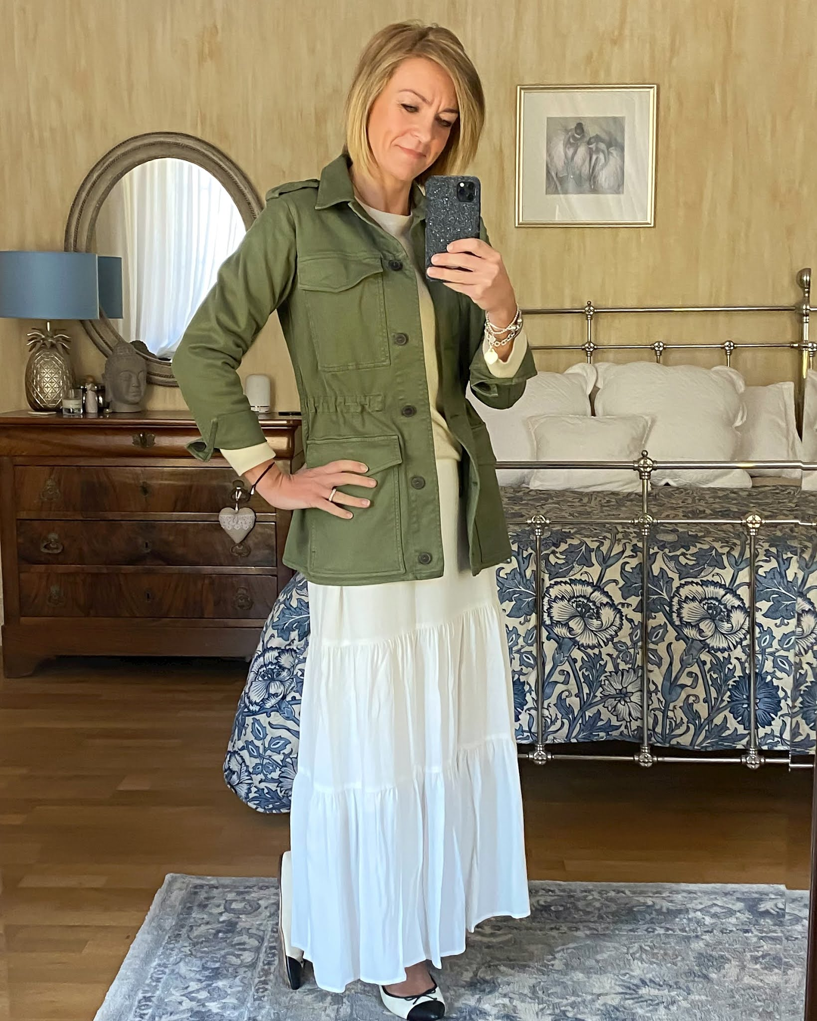 my midlife fashion, baukjen drake organic utility jacket, marks and Spencer pure cashmere crew neck jumper, phase eight tiered maxi skirt, j crew two tone ballet pumps
