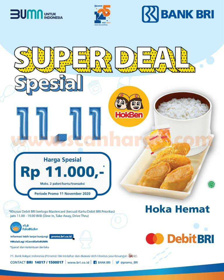Promo Hokben Super Deal Spesial 11.11 - Paket Hoka Homat hanya Rp 11.000 dengan Kartu Debit BRI