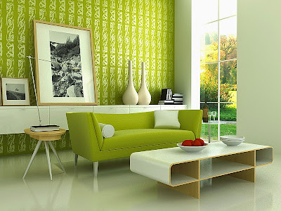 green lounge room retro futuristic 60s