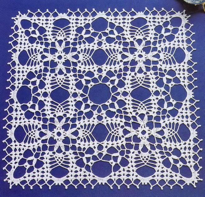 White crochet lace - Crochet squares -  Square doily
