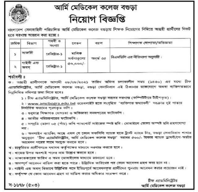 Bogura Army Medical College Job Circular Notice 2021