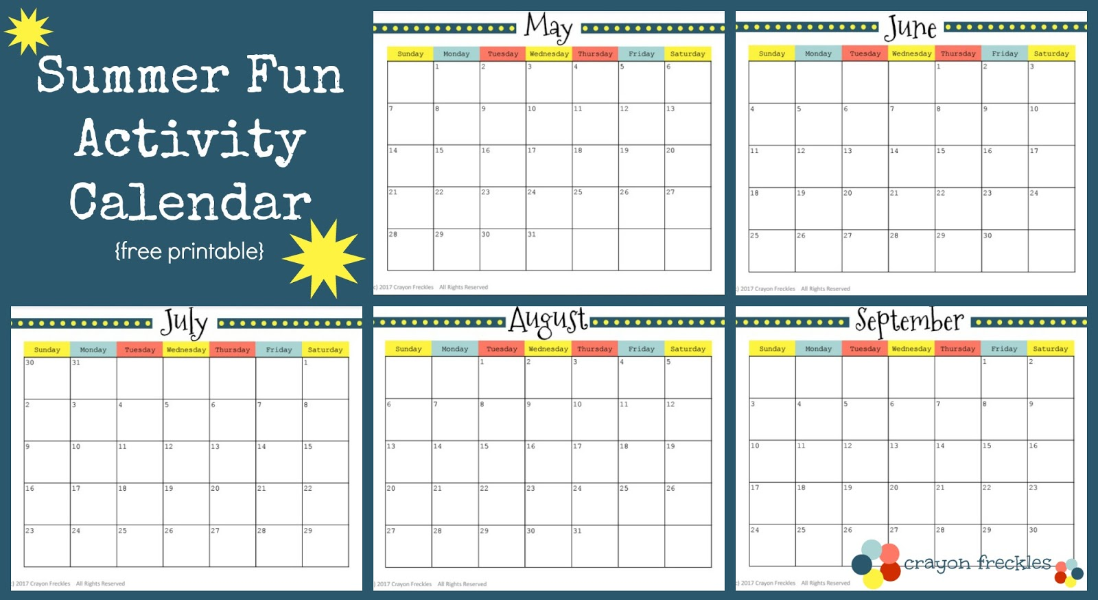 Blank Calendar Summer : Crayon freckles summer activities and free printable