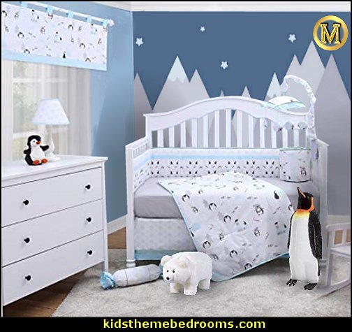OptimaBaby My Cute Little Penguin Antarctic Holiday 6 Piece Baby   Melissa & Doug Giant Emperor Penguin Plush Stuffed Animal  Nursery Crib Bedding  Frosty Polar Bear Ride-on Footstool