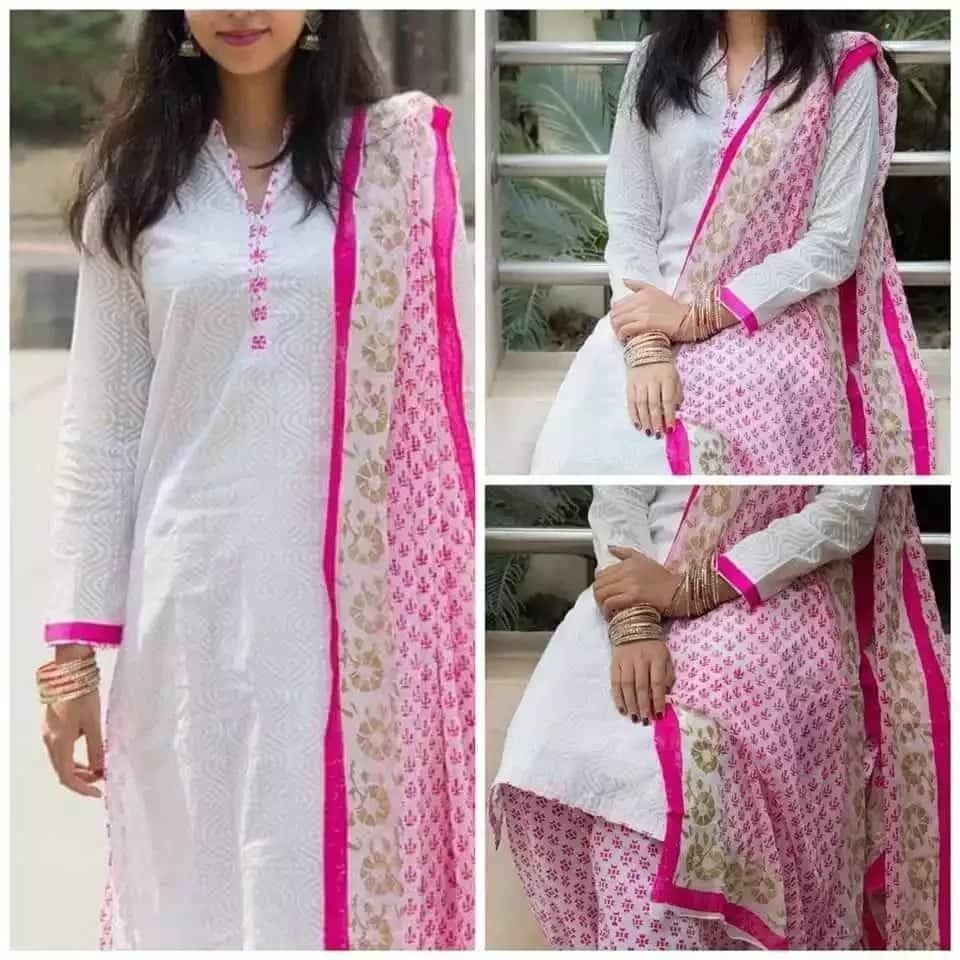 Unstitched White Cotton 3piece Uc037 - Orp