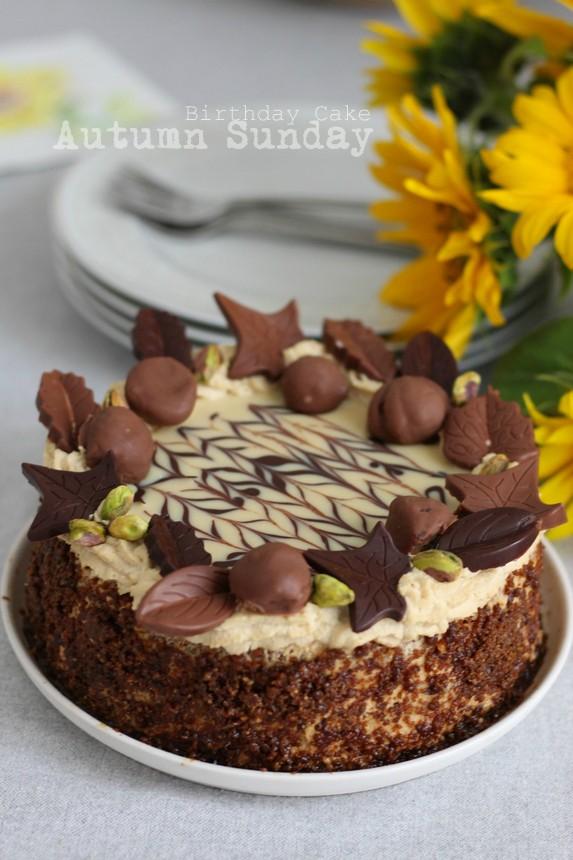 Торта с есенна декорация за рожден ден, торта Неделя