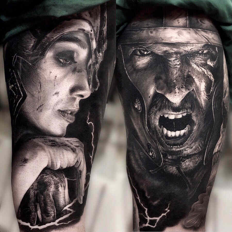 Tatuaje realista de dos caras de una guerrera y un guerrero