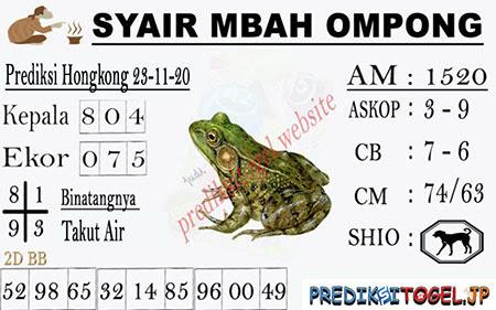 Syair Mbah Ompong HK Senin 23 November 2020
