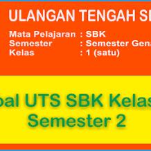 Soal UTS Seni Budaya dan Keterampilan (SBK) Kelas 1 Semester 2 Terbaru