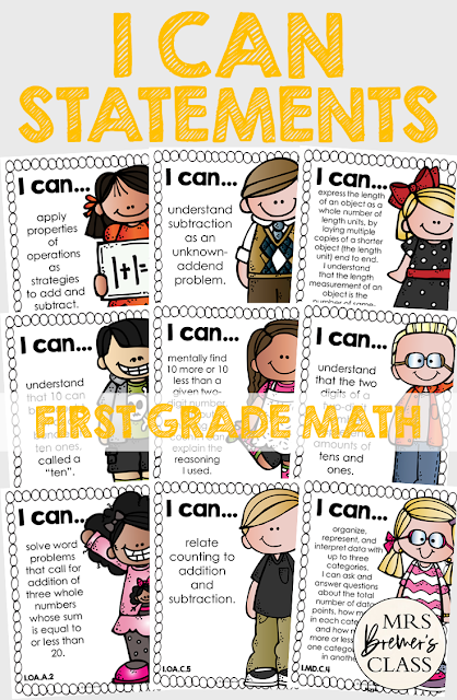 I Can Statements Common Core Posters for First Grade Math, featuring Melonheadz Kidlettes. Display in the classroom on a focus board or objective board for student reference and learning. An educational display for use in First Grade. Hang as you teach a new learning standard. No prep- just print and go!