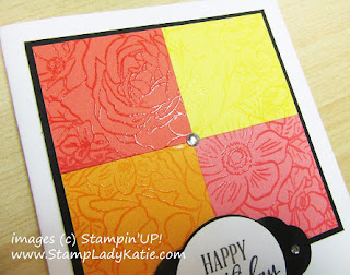 Card made with Stampin'UP!'s Breathtaking Bouquet stamp with the image perfectly lined up across 4 different card panels