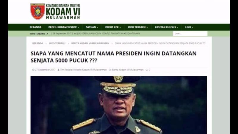 Artikel di situs Kodam Mulawarman yang memfitnah Kepala BIN