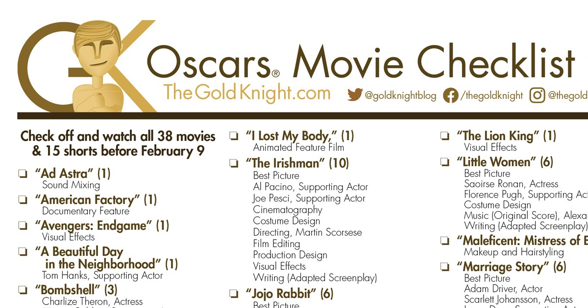 Oscars 2020 Download Our Printable Movie Checklist The