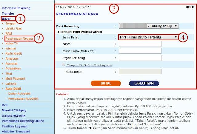 Bayar Pajak via Internet Banking Mandiri