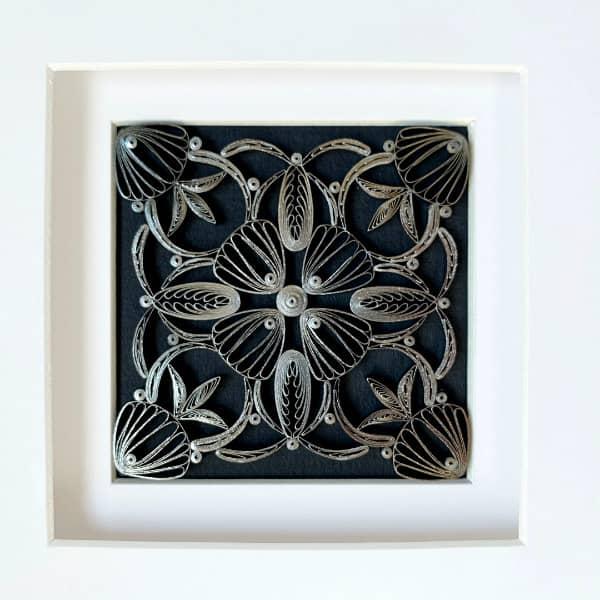 framed square quilled design